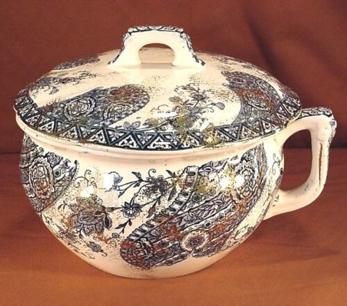 "T. FURNIVAL & SONS PAISLEY 9"" CHAMBER POT w/ LID"
