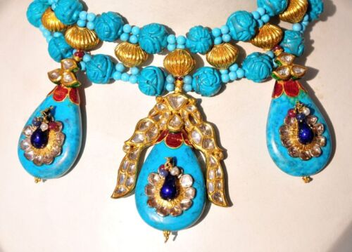 ANTIQUE 22KT CARVED TURQUOISE DIAMOND PEACOCK NECKLACE EARRING