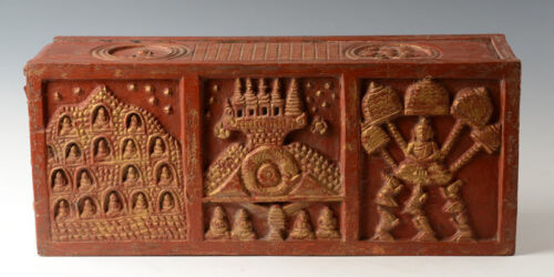 19th Century, Antique Thai Lanna Wooden Bible Chest with Design on 5 Sides