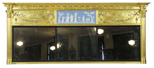 SWC-Federal Giltwood Overmantle Mirror with Wedgwood Plaque, c.1810-20