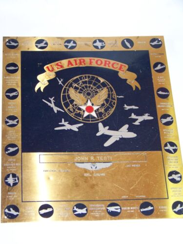 VINTAGE 1948 USAF/AIR FORCE BRASS PLAQUE USAAF WWII PLANES/MISSIONS!  DOOLITTLEOriginal Period Items - 13981