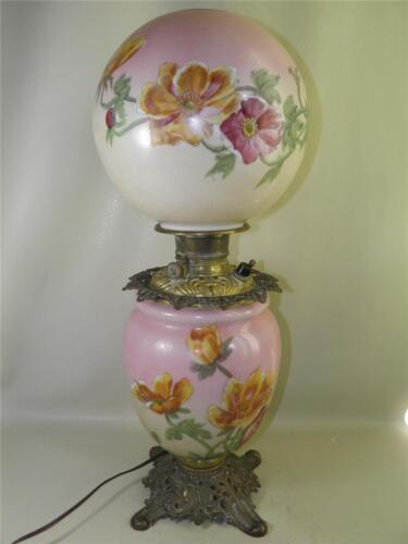 ANTIQUE GONE WITH THE WIND SIGNED PHOENIX FLORAL OIL LAMP CONVERTED 24'' HIGH