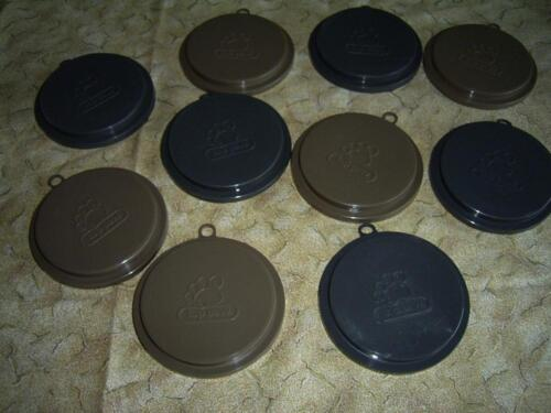 Set Scuffies 10 pet food petfood dog puppy cat lids can top cover Petco Top Paw