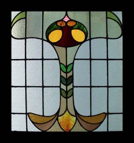 English Art Nouveau Antique Stained Glass Window Absolutely Stunning