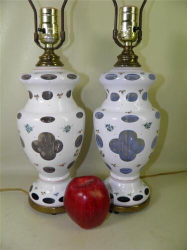 ANTIQUE BOHEMIAN CZECH CUT TO BLUE & PURPLE HAND PAINTED COIN DOT PAIR OF LAMPS