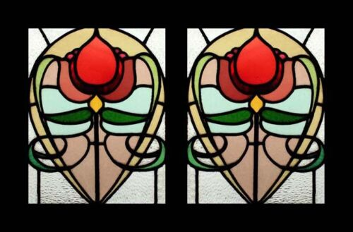 Art Nouveau Antique English Rare & Beautiful Pair Stained Glass Windows