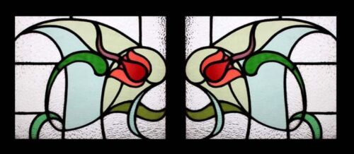 Antique English Art Nouveau Rare & Beautiful Pair Stained Glass Windows