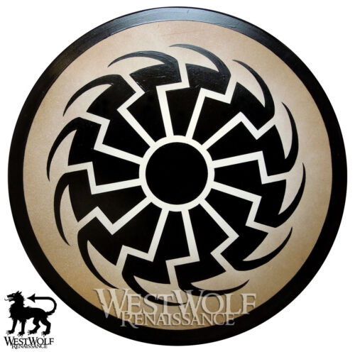 Round Black Sun Viking Shield -- sca/larp/medieval/dark ages/wooden/armor/sheildReenactment & Reproductions - 156374