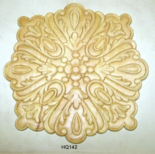 "WOOD EMBOSSED APPLIQUE CARVING  9 1/2"" X 9 1/2""  HQ142"