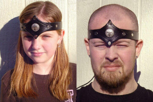 Leather Head Piece Armor SCA LARP armor band biker motorcycle fantasy medievalReenactment & Reproductions - 156374