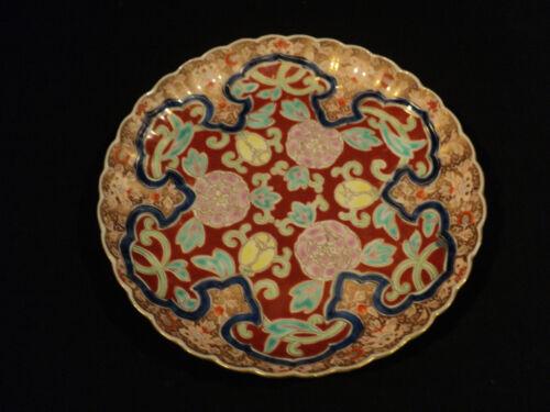 "BEAUTIFUL 19th C. JAPANESE ""FUKAGAWA"" PORCELAIN ENAMELED 8"" PLATE"
