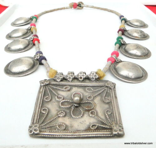 RARE! VINTAGE ANTIQUE ETHNIC TRIBAL OLD SILVER NECKLACE PENDANT AMULET INDIA