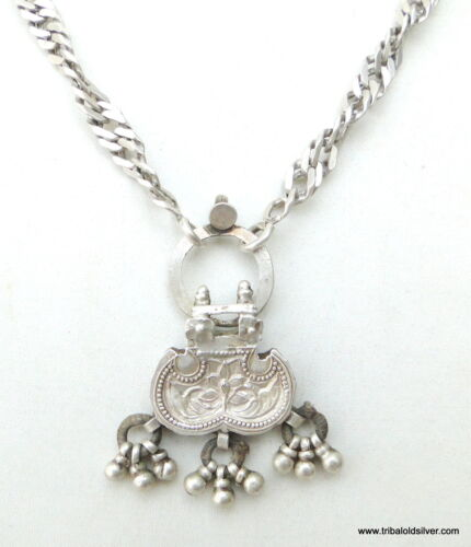 RARE!! ANTIQUE ETHNIC TRIBAL OLD SILVER CHAIN PENDANT NECKLACE RAJASTHAN INDIA