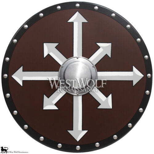 Round Wooden VIKING CHAOS CROSS SHIELD --- sca/larp/norse/medieval/steel/armorReenactment & Reproductions - 156374