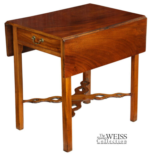 SWC-A Mahogany Chippendale Pembroke Table with Pierced Stretchers, CT, c.1780
