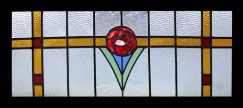 Stunning Antique English Mackintosh Rose Stained Glass Window