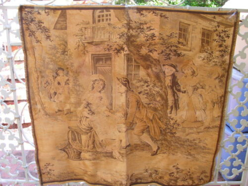 """Antique France Large Tapestry 1700's Courting Couple Scene 39"""" x 38"""" Gold Brown"""