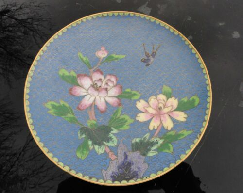 Antique Cloisonne Enamelled Plate Peony or Water Lily & Bird of Paradise