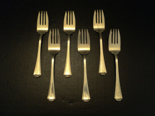"NICE SET/6 DURGIN STERLING SILVER ""FAIRFAX"" SALAD FORKS, c.1910"