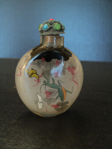 "19th. C. CHINESE QING DYNASTY REVERSE PAINTED SNUFF BOTTLE, ""PRAYING MANTUS"""