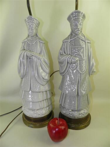 ANTIQUE PAIR OF CELADON CHINESE FIGURAL MALE & FEMALE STATUE LAMPS BRONZE BASES
