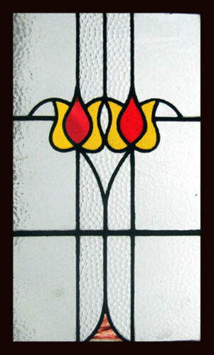 Pretty Art Nouveau Floral Tulips Antique English Stained Glass Window