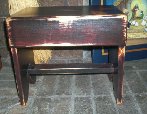 Primitive Country Wood  Milk Stool Foot Stool Bench Plant Stand
