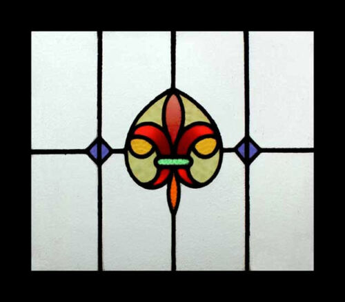 Stunning Antique Fleur Di Lys English Stained Glass Window
