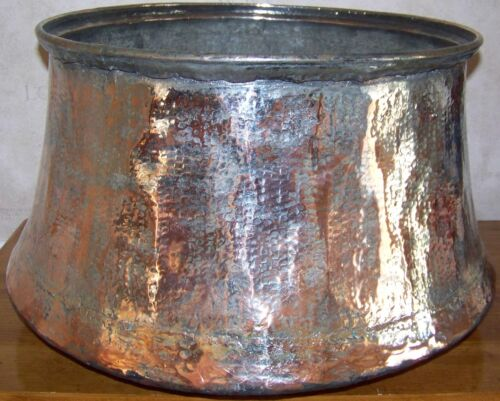 "18""x12"" Handhammered Antique Partially Tin Coated Turkish Copper Boiler Planter"