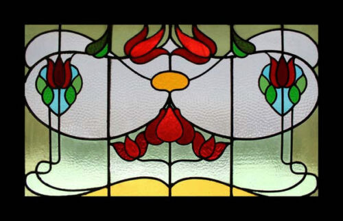 Stunning Art Nouveau Antique English Floral Stained Glass Window