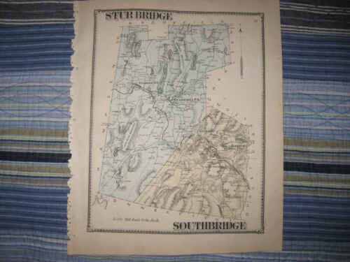 ANTIQUE 1870 STURBRIDGE SOUTHBRIDGE FISKDALE WORCESTER COUNTY MASSACHUSETTS MAP