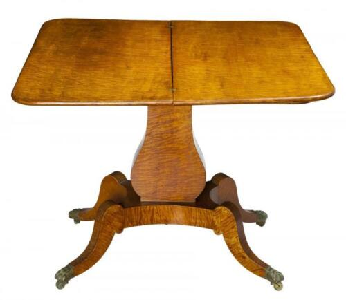SWC-Classical Tiger Maple Lyre Card Table, c.1830