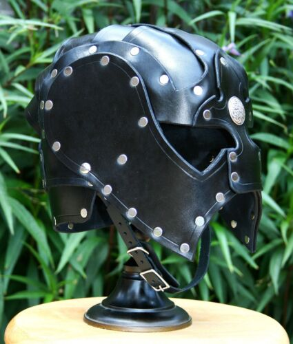 Leather Spectacle Helmet Fantasy Mask Armor SCA LARP Helm Medieval CosplayReenactment & Reproductions - 156374