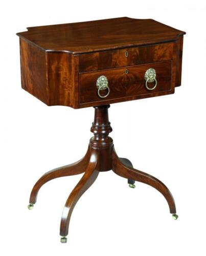 SWC-Fine Mahogany Work Table with Convex Corners and Lift Top, New York, c.1810