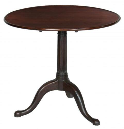 SWC-Rare Dishtop Chippendale Tilt Top Table, with Reeded Column, Newport c.1760