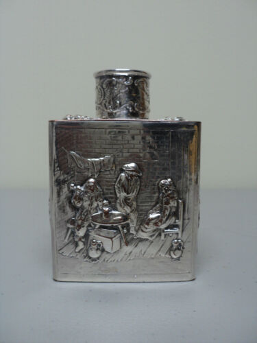 Continental Embossed Silver over Copper Tea Caddy,  c. 1900
