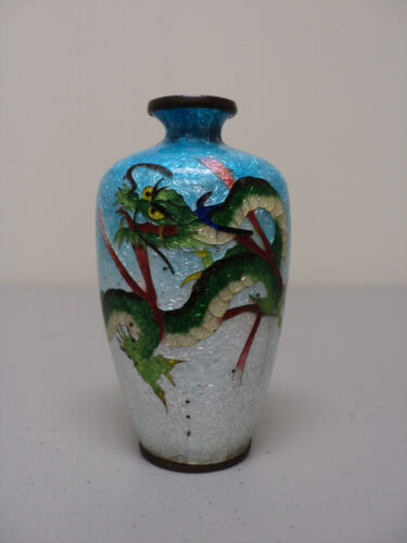 "JAPANESE CLOISONNE GINBARI FOIL BACKGROUND 3.5"" MINIATURE DRAGON VASE, SIGNED"