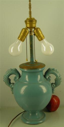 VINTAGE ITALIAN TURQUOISE GLAZED POTTERY VASE LAMP DOUBLE SOCKET CARBON MARKED
