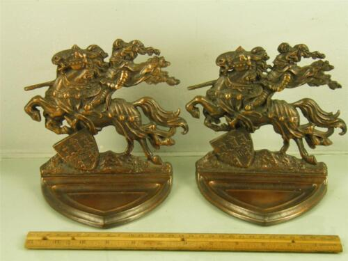 ANTIQUE GOTHIC MEDIEVAL KNIGHT ON HORSE ORNATE BRONZED COPPER BOOKENDS