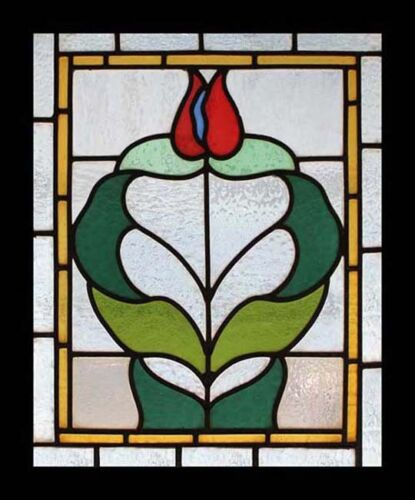 Beautiful Art Nouveau Tulip English Antique Stained Glass Window