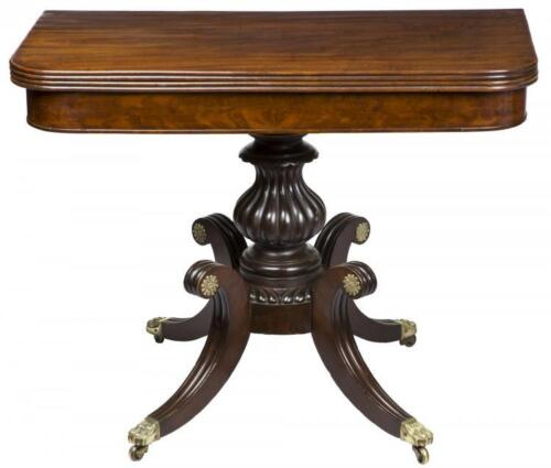SWC-Highly Figured Mahogany Classical Card Table on Saber Legs, Salem, c.1820