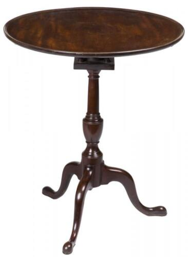 SWC-Mid-sized Mahogany Tilt-top Table with Dishtop and Birdcage, Salem, c.1780