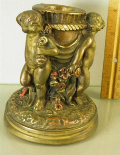 ANTIQUE BRONZE CLAD ORNATE FIGURAL CHERUB COLD PAINTED FLORAL CANDLESTICK