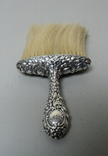 ANTIQUE AMERICAN DOMINICK & HAFF STERLING SILVER REPOUSSE HAT BRUSH, c. 1900