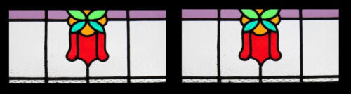 Stunning Pair Edwardian Floral Antique English Stained Glass Windows