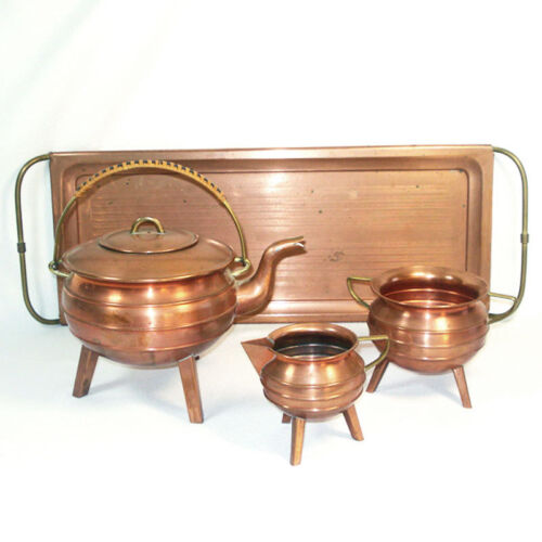 Antique Copper Tea Set With Tray, Tripod Leg Ringed Form