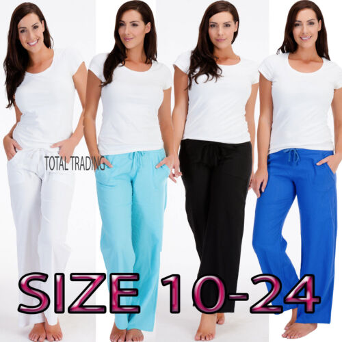 LADIES WOMENS LINEN CASUAL TROUSERS PANTS  BOTTOMS SUMMER HOLIDAYS  c 580-583