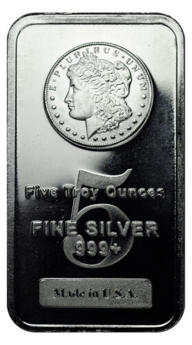 Morgan Dollar Design 5 oz Silver Bar MADE IN USA SKU27205 <br/> Buy With Confidence from ModernCoinMart (MCM) on ebay