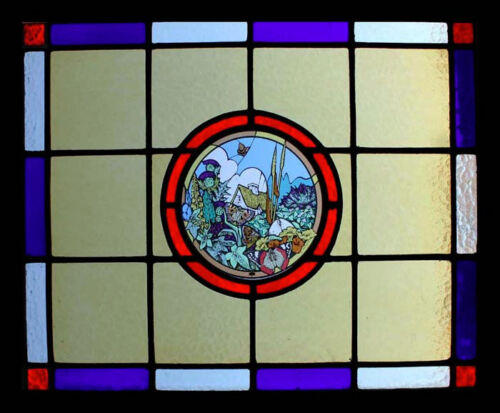 Spectacular Art Deco English Cottage Stained Glass Window Fairytale Theme