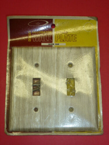 NOS! BELL 2-GANG TOGGLE SILVER OAK FINISH WALL PLATE,